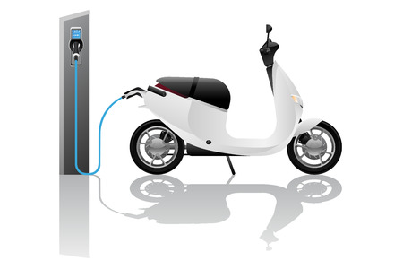 Electric scooter for sharing with charging station. Vector illustration