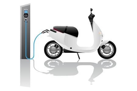 Trottinette électrique à partager avec borne de recharge. Illustration vectorielle Vecteurs