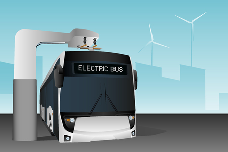 Electric bus at a stop is charged by pantograph. Vector illustration