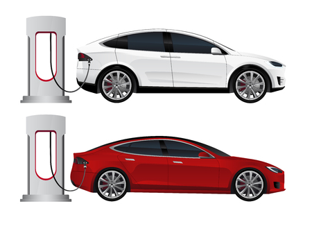 Set of electric cars with charging stations. Vector illustration