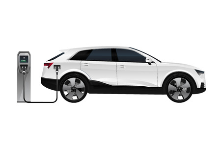 electric SUV is charging from the charging station. Vector illustration 向量圖像