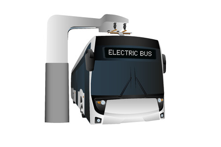 Electric bus at a stop is charged by pantograph. Isolated on white. Vector illustration
