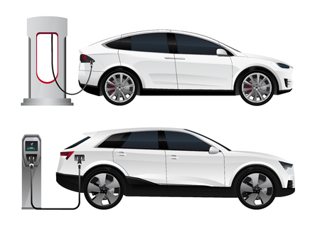 Set of electric SUV with charging stations. Vector illustration