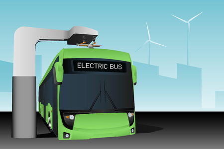 Electric bus at a stop is charged by pantograph. Vector illustration Banque d'images - 112040209