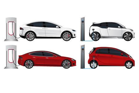 Set of electric vehicles isolated on white background. Vector illustration
