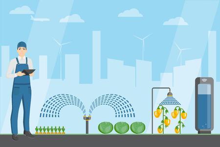 Granjero con tableta digital en un invernadero moderno. Internet de las cosas en la agricultura. Granja inteligente con control inalámbrico. Ilustración de vector. Ilustración de vector