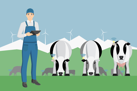 Farmer with digital tablet on a cattle grazing. Internet of things in cattle breeding. Vector illustration