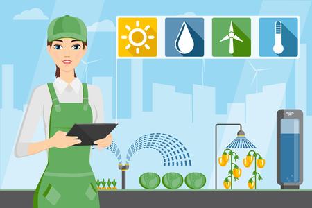 Contadina con tablet in una serra moderna. Internet delle cose in agricoltura. Fattoria intelligente con controllo wireless. Illustrazione vettoriale.