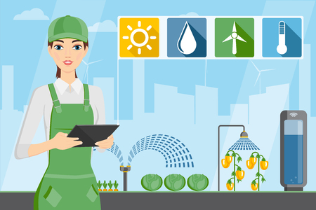 Woman farmer with tablet in a modern greenhouse. Internet of things in agriculture. Smart farm with wireless control. Vector illustration. Ilustracja