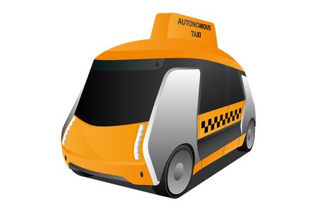 Autonomiczna taksówka z własnym prowadzeniem. Ilustracja wektorowa
