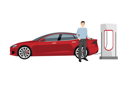 Man charges an electric car at a charging station. Stock Illustratie