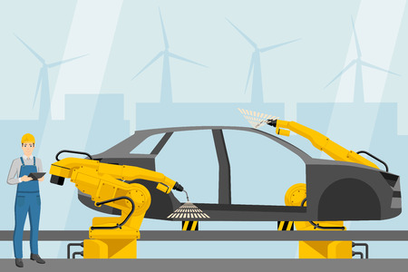 Engineer  with a digital tablet controls the welding robots on the car assembly line. Smart factory. Vector illustration