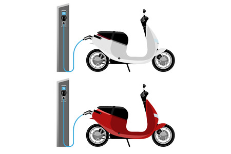 Set of electric scooters with charging stations. Vector illustration EPS 10