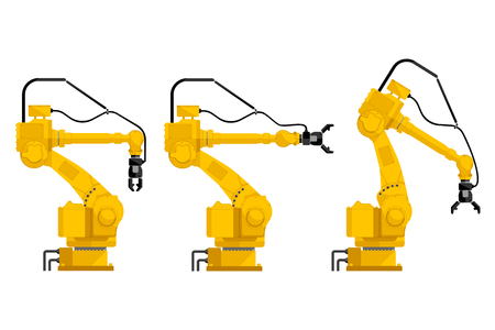 Set of assembly handling robots isolated on white background. Vector illustration EPS 10. Foto de archivo - 112039802