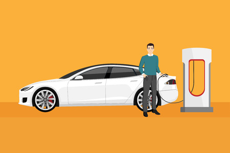 Man charges an electric car at a charging station. Illustration