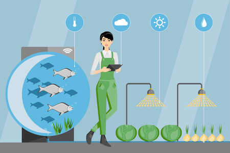 Asian woman farmer with digital tablet. Growing plants in the greenhouse with aquaponics system. Vector illustration. Illustration
