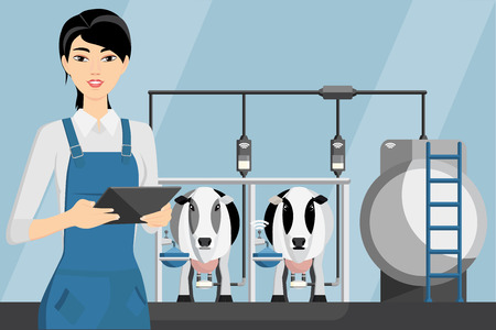 Asian woman farmer with tablet on a modern dairy farm. Smart farming, herd management and automatic milking. Vector illustration. Ilustração