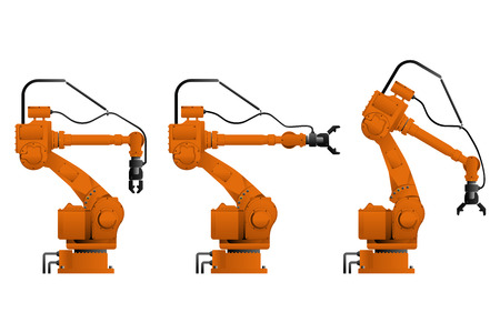 Set of assembly handling robots isolated on white background. Vector illustration Foto de archivo - 113252814