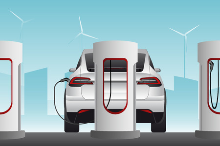 Electric cars are charged from charging stations. Vector illustration Stock fotó - 113252865