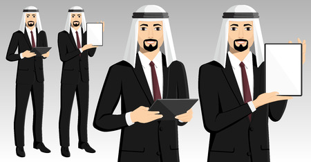 Set of arab businessman with tablet computer. Vector illustration