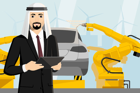 Arab manager with a digital tablet controls the welding robots on the car assembly line. Smart factory. Vector illustration