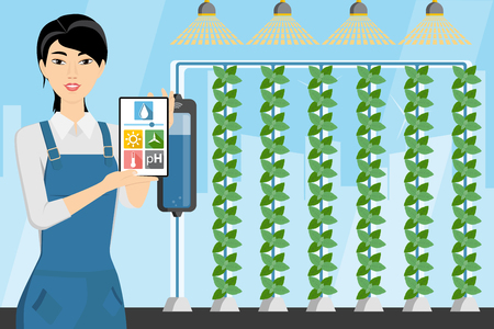 Asian woman farmer with digital tablet in greenhouse with vertical gardens. Smart farm with wireless control. Vector illustration. Ilustração