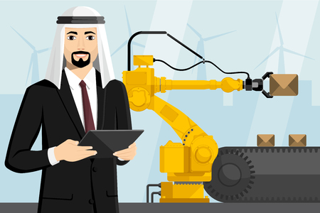 Arab manager with a digital tablet controls the handling robot. Smart factory. Vector illustration
