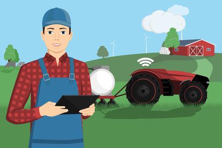 Rolnik z komputerem typu tablet steruje autonomicznym ciągnikiem na inteligentnej farmie. Ilustracja wektorowa EPS 10