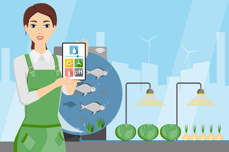 Woman farmer with digital tablet. Growing plants in the greenhouse with aquaponics system. Vector illustration.