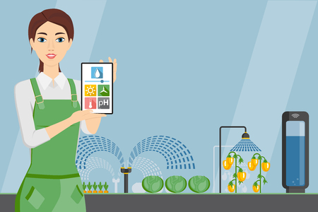 Woman farmer with tablet in a modern greenhouse. Internet of things in agriculture. Smart farm with wireless control. Vector illustration. Stock Illustratie