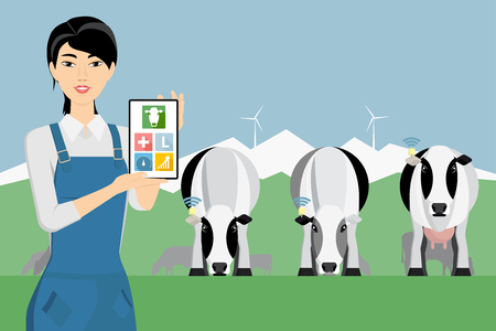 Asian woman farmer with digital tablet on a cattle grazing. Internet of things in cattle breeding. Vector illustration Illustration