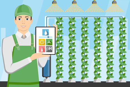Farmer with digital tablet in greenhouse with vertical gardens. Smart farm with wireless control. Vector illustration.
