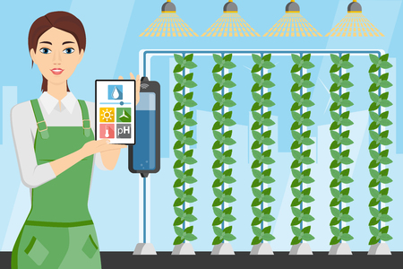 Woman farmer with digital tablet in greenhouse with vertical gardens. Smart farm with wireless control. Vector illustration.