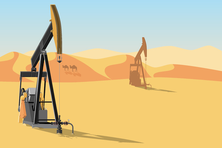 Oil rigs in the desert. Vector illustration EPS 10 Çizim