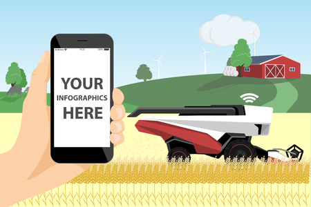 A farmer with phone controls a autonomous harvester on a smart farm.  White screen, you can add your infographic here. Stock fotó - 114903775
