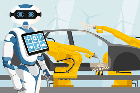 Robot with a digital tablet controls the welding robots on the car assembly line. Smart factory. Vector illustration