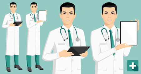 Asian medical doctor with digital tablet. Vector illustration