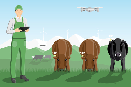Asian farmer with digital tablet and drone on a pasture. Digital technology in animal husbandry.  Vector illustration