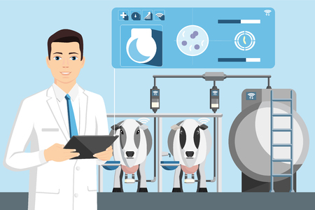 Quality control of milk on a dairy farm.  Technology Internet of Things in agriculture. Vector Illustration Illustration