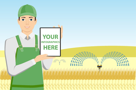 Modern farmer with tablet in a wheat field. White screen, you can add your infographic here.