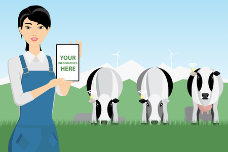 Asian woman farmer with digital tablet on a cattle grazing. White screen, you can add your infographic here.