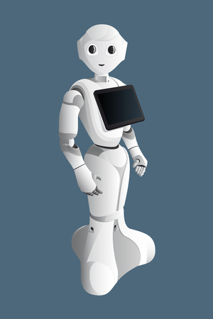 Realistic robot consultant with digital tablet isolated on blue background. Vector illustration