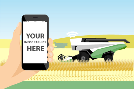 A farmer with phone controls a autonomous harvester on a smart farm. White screen, you can add your infographic here.