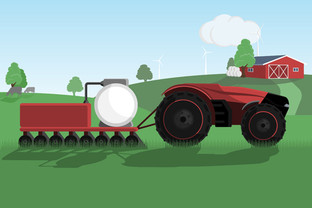 Autonomous tractor on a smart farm. Vector illustration EPS 10