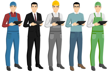 Set of asian men with a digital tablet. Foreman, businessman, engineer, casual, farmer. Isolated on white. Vector illustration Illustration