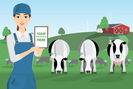 Modern farmer with digital tablet on a cattle grazing. White screen, you can add your infographic here.