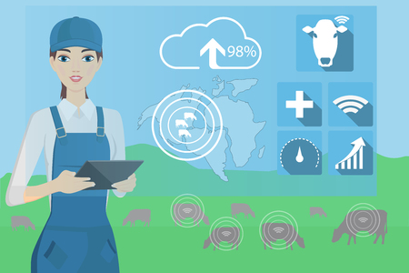 Farmer with digital tablet on a cattle grazing. Internet of things in cattle breeding. Vector illustration Illustration