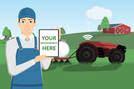 Modern farmer with a tablet computer controls autonomous tractor on a smart farm. White screen, you can add your infographic here.