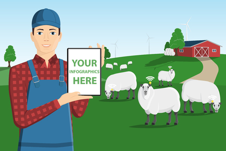 A farmer with a computer tablet is grazing a herd of sheep on a smart farm. White screen, you can add your infographic here. Vector illustration Stock fotó - 118116425