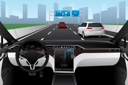 Self driving car on a road. Autonomous vehicle. Inside view. Standard-Bild - 118116685